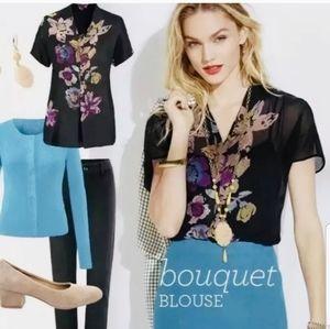Cabi black floral semi-sheer bouquet blouse 3332 S